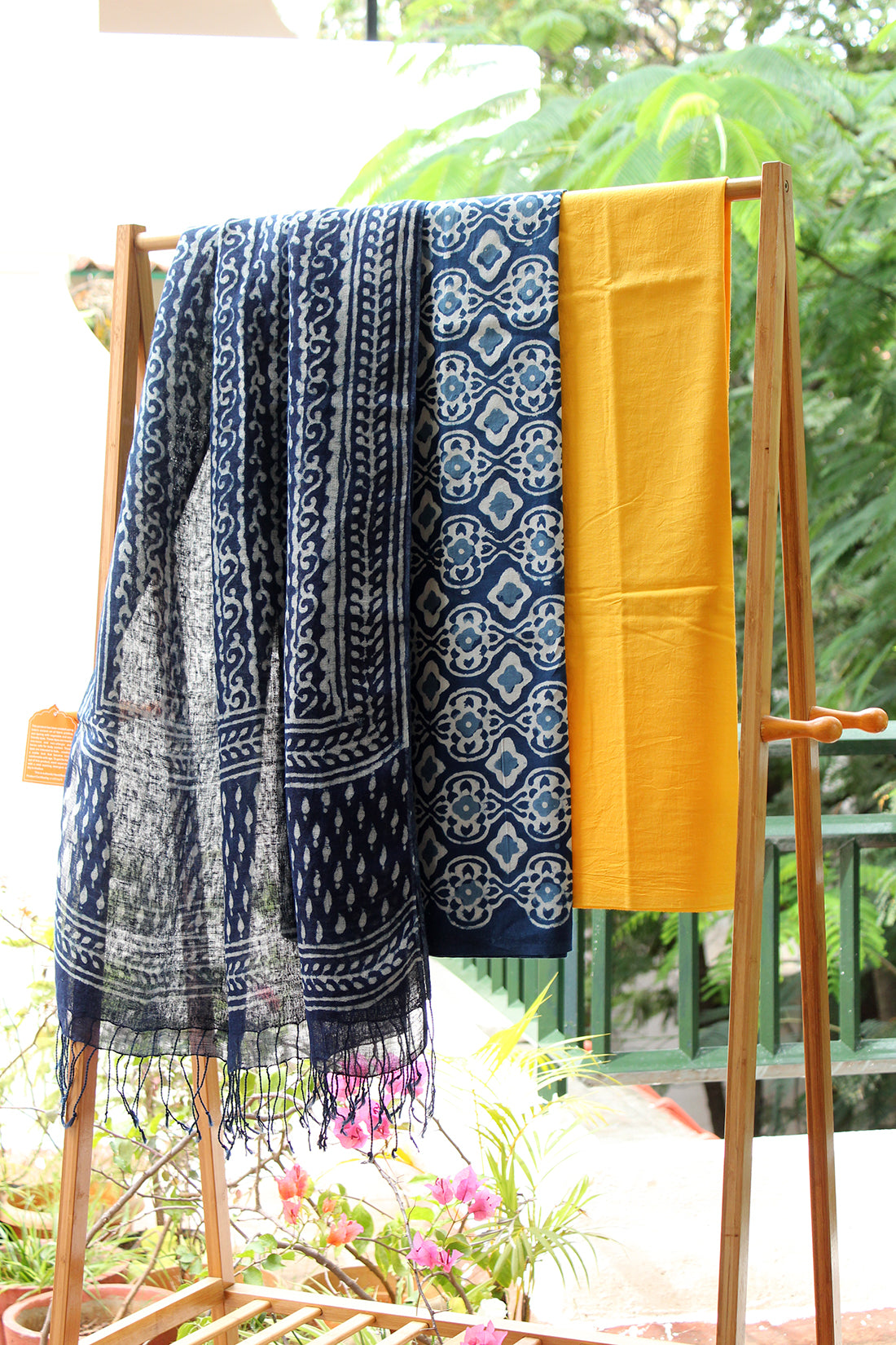 Indigo Handloom Linen Hand Block Printed Dupatta with Indigo and Yellow Cotton Dress Material
