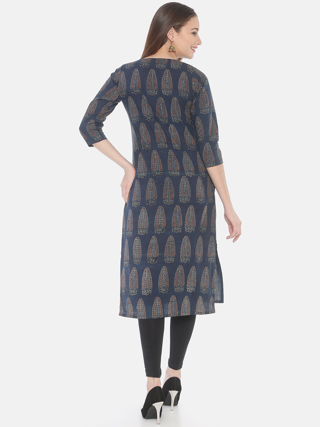 Indigo Ajrakh Hand Block Printed Naturally Dyed Pure Cotton Kurti
