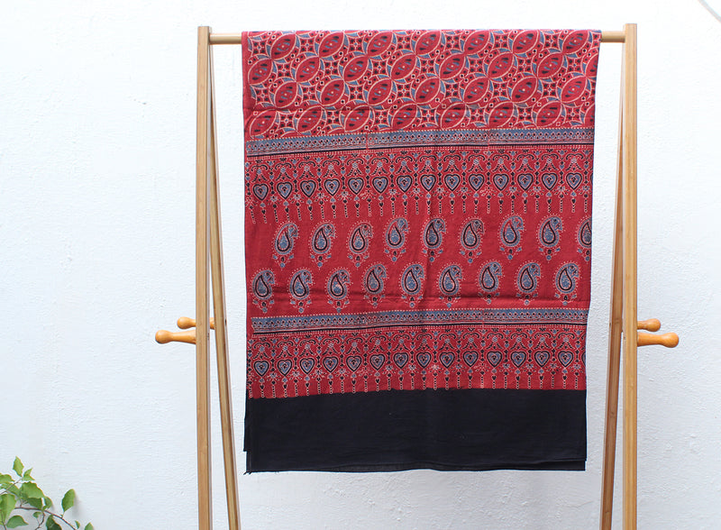 Indigo and Red Naturally Dyed Ajrakh Hand Block Printed Cotton Dress Material