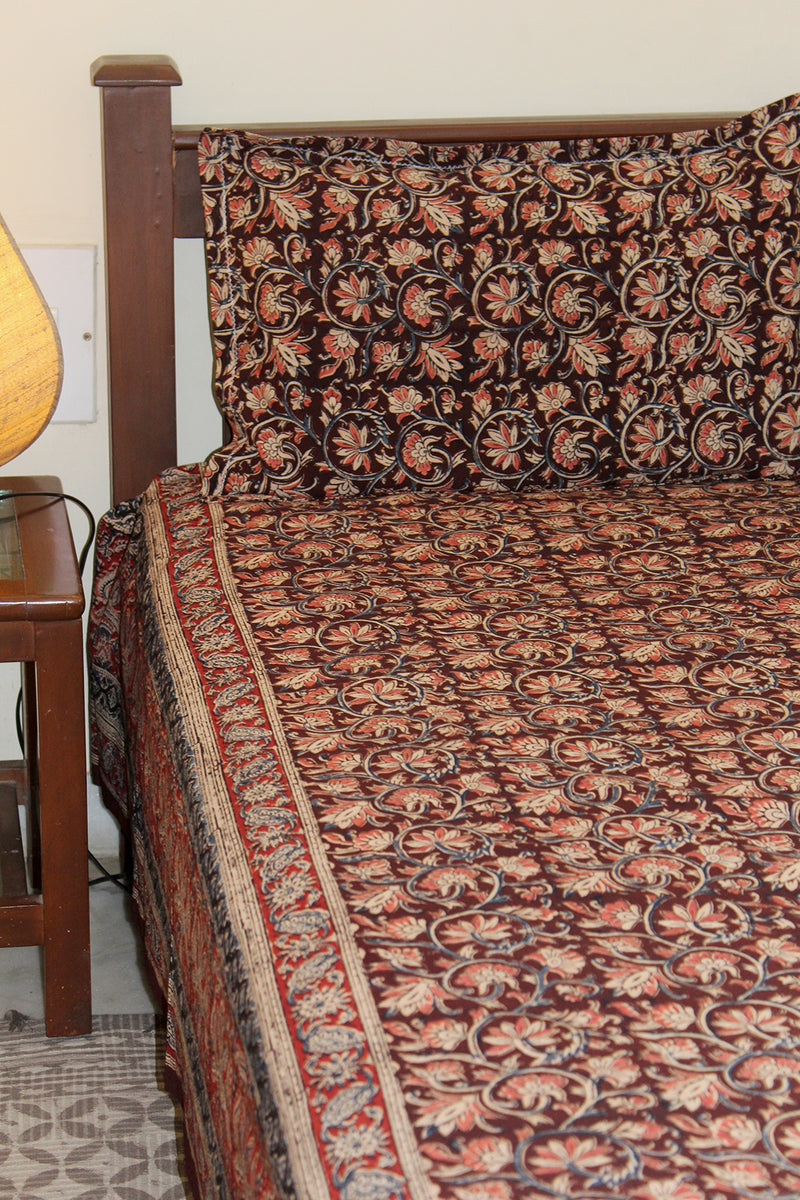 Brown Kalamkari Hand Block Printed Pure Cotton King Size Bedsheet with Pillow Covers