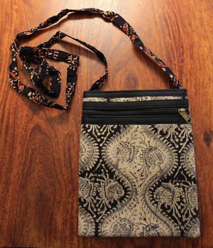 Black and White Kalamkari Hand Block Printed Cotton Sling Bag
