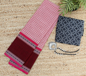 Pink Checkered Kanchi Cotton Saree with Black Jacquard Cotton Blouse Piece