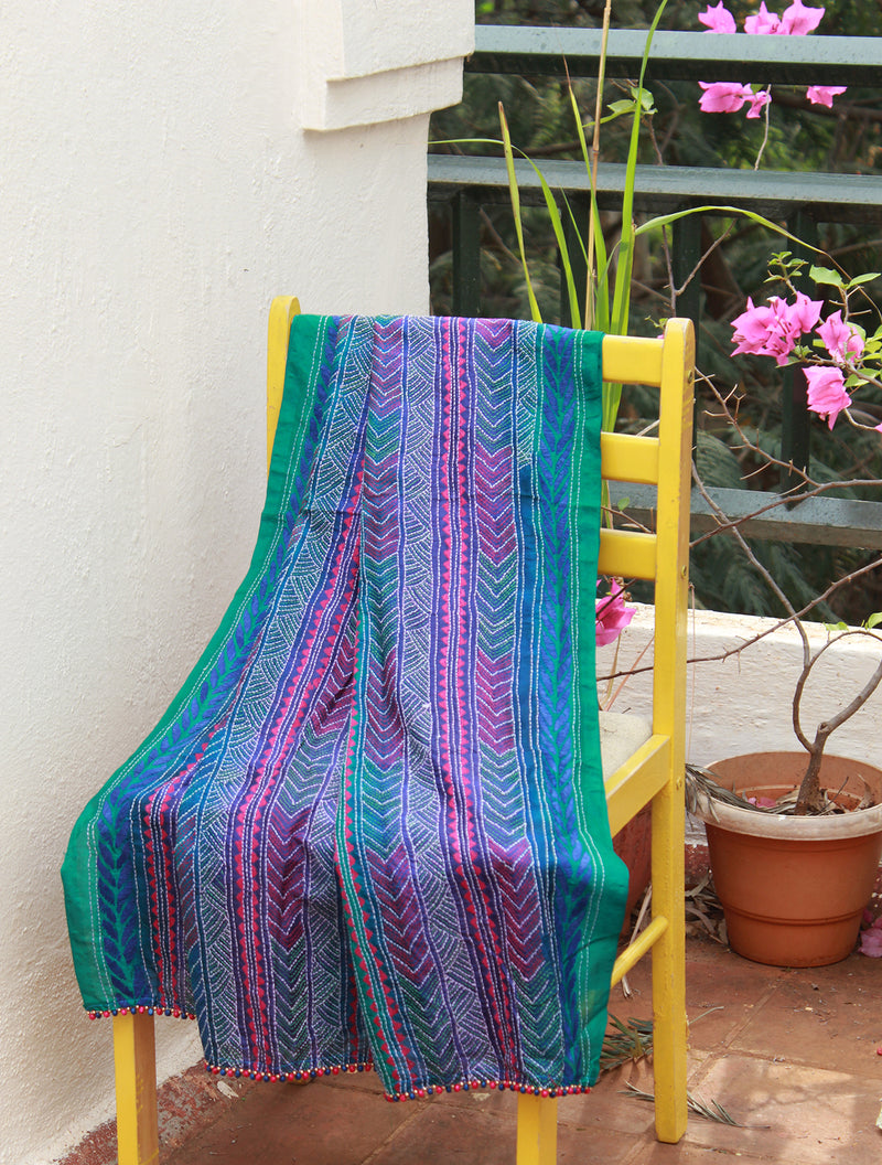 Multi- Coloured Tie and Dye Kantha Hand Embroidered Silk Dupatta with Tassels