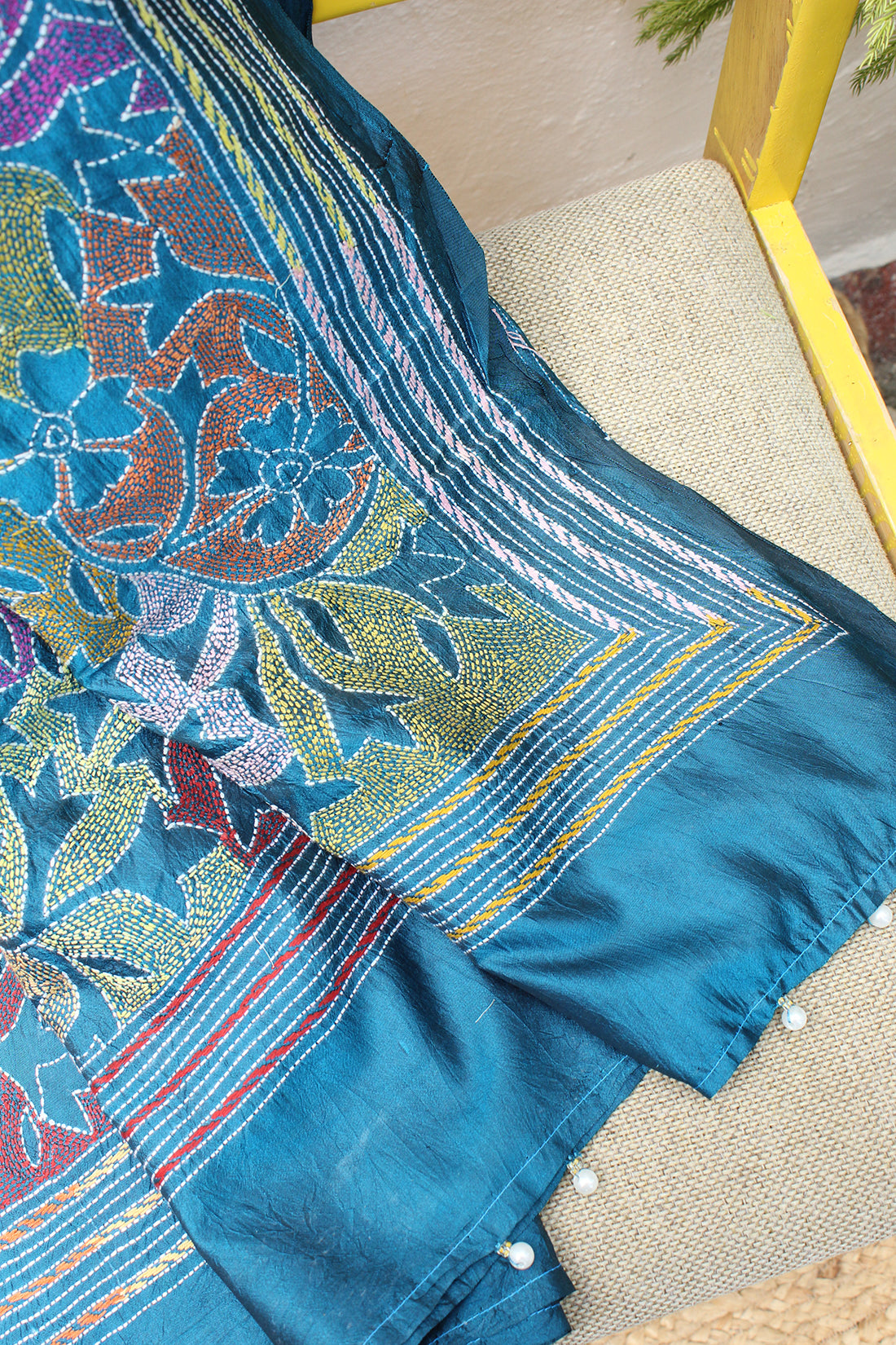 Peacock Blue Reverse Kantha Hand Embroidered Silk Dupatta with Tassels
