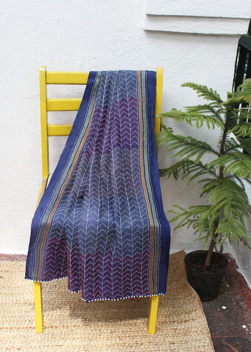 Navy blue Kantha Hand Embroidered Silk Dupatta with Tassels