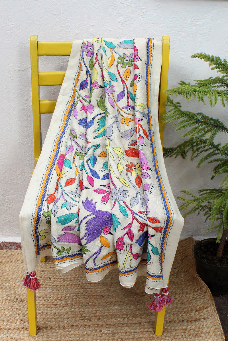Off-White Kantha Hand Embroidered Silk Georgette Dupatta