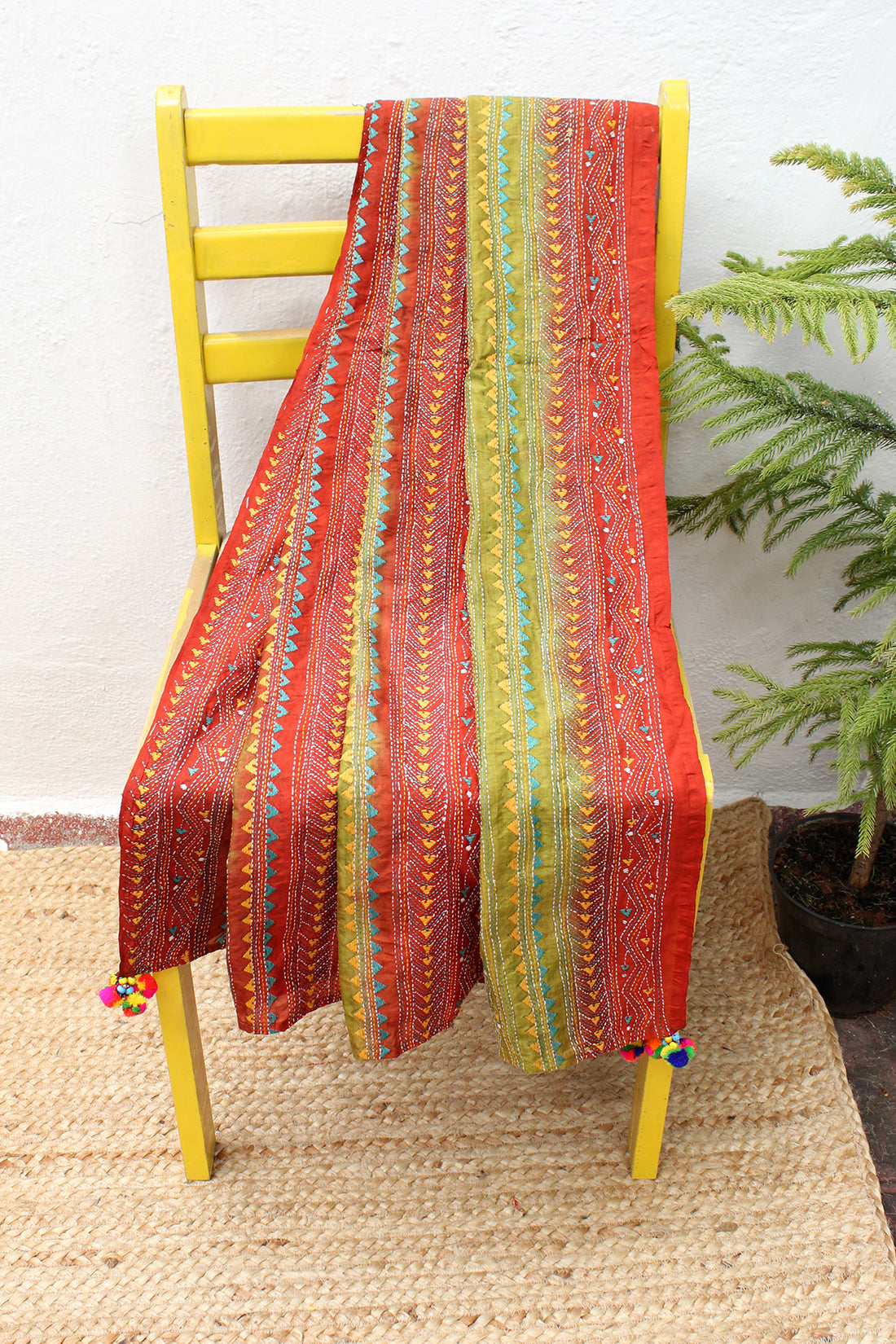 Chutney Green and Brown Tie and Dye Kantha Hand Embroidered Silk Dupatta with Tassels