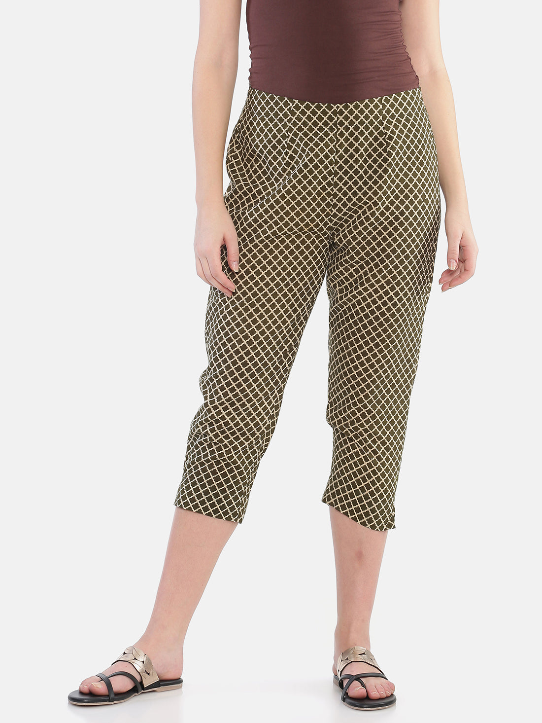 Khaki Naturally Dyed Cotton Hand Block Printed Cropped Cigarette Pants