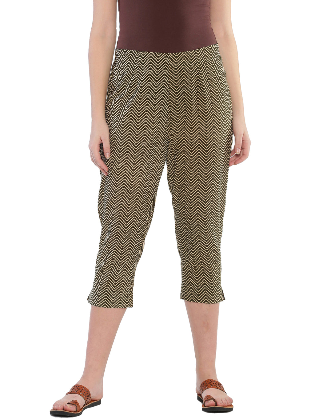 Khaki Naturally Dyed Cotton Chevron Hand Block Printed Cropped Cigarette Pants