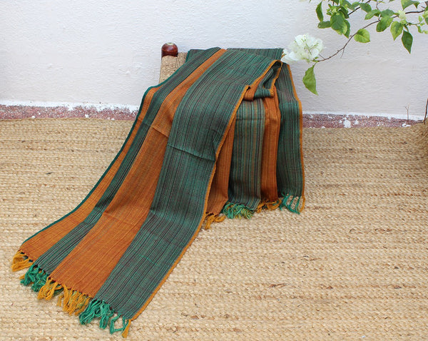 Autumn Foliage | Multi-coloured Striped Handloom Merino Wool Kumaoni Shawl