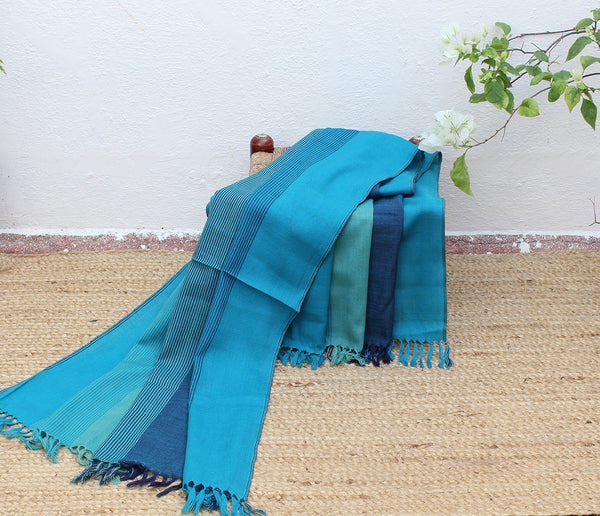 Ocean | Blue multi-toned Striped Handloom Merino Wool Kumaoni Shawl