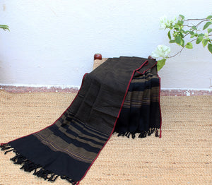 Demure Strength | Black and Beige Striped Handloom Merino Wool Kumaoni Shawl