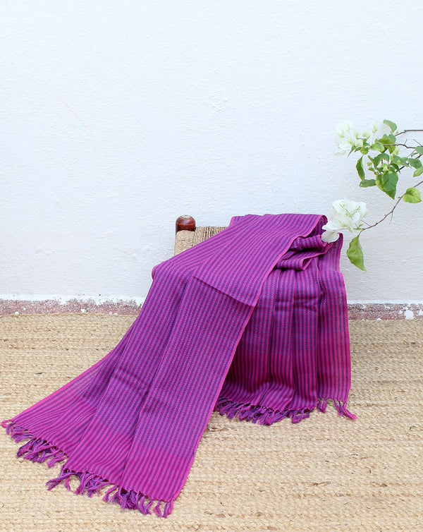 Amaranth | Pink and Purple Striped Handloom Merino Wool Kumaoni Shawl