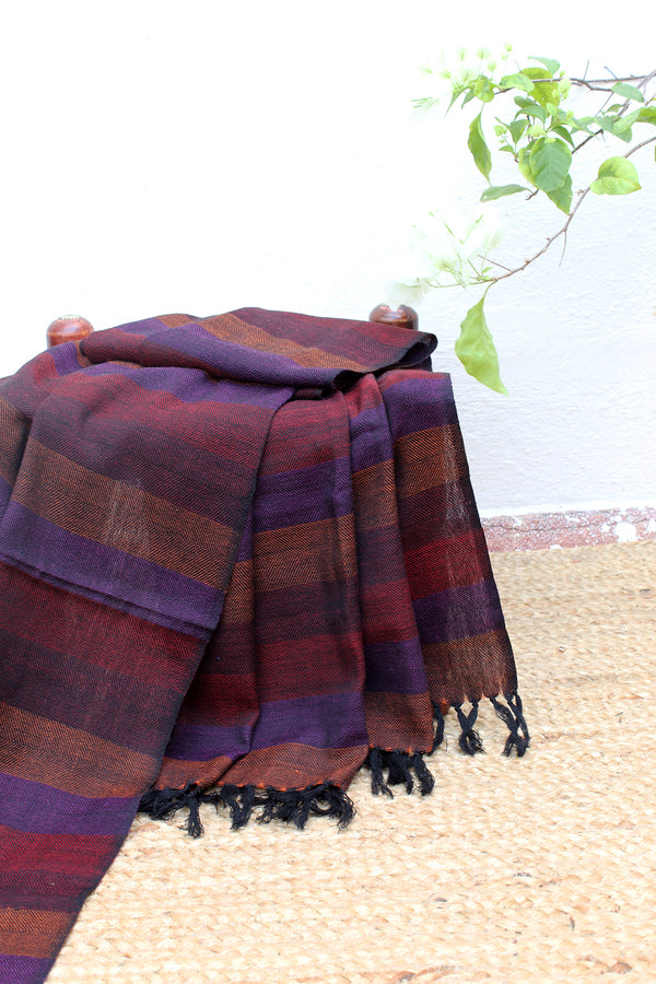 Bold Confidence | Multicoloured Striped Handloom Merino Wool Kumaoni Shawl