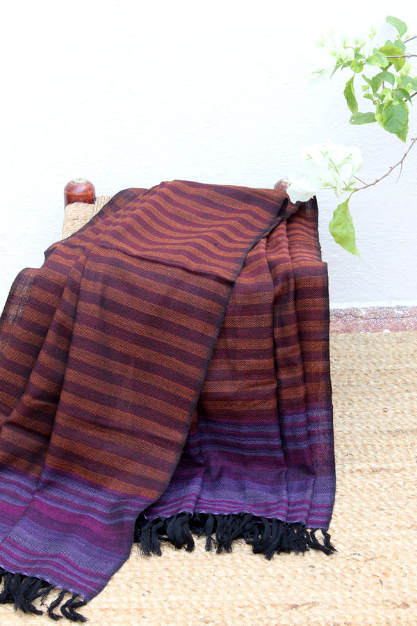 Bold Confidence | Yellow and Purple Striped Handloom Merino Wool Kumaoni Shawl