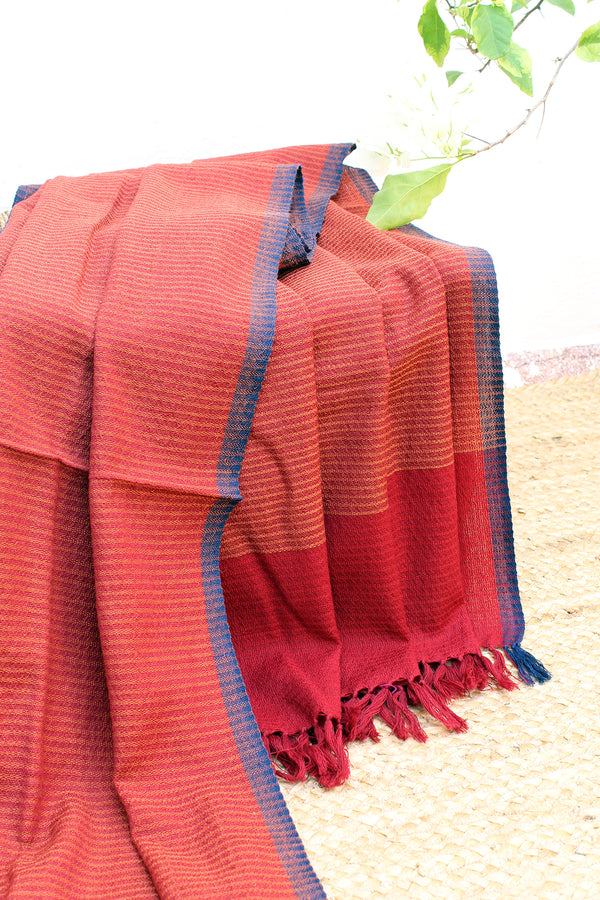 Sunset Red | Red and Yellow Handloom Merino Wool Kumaoni Shawl