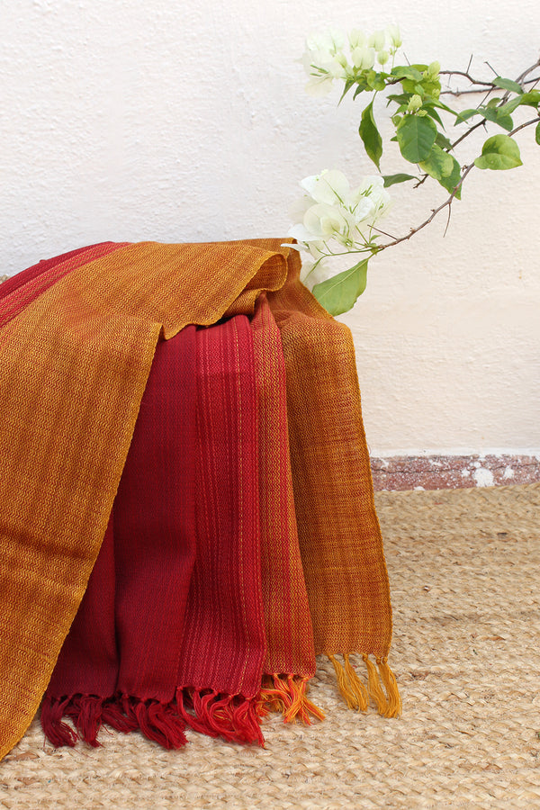 Sunrise| Red and Yellow Multi-toned Handloom Merino Wool Kumaoni Shawl