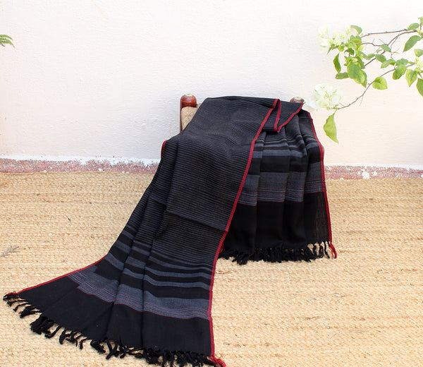 Gravitas| Black and Grey Striped Handloom Merino Wool Kumaoni Shawl