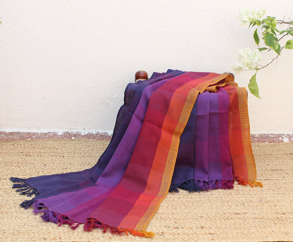 Sunset| Multi-coloured Striped Handloom Merino Wool Kumaoni Shawl