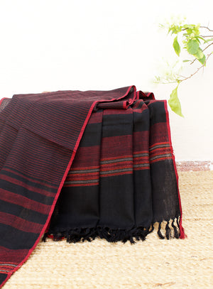 Power| Black and Red Striped Handloom Merino Wool Kumaoni Shawl