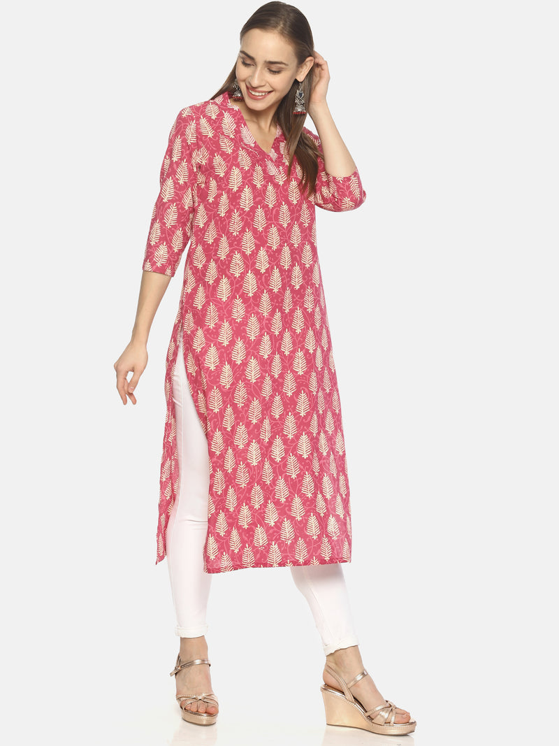 Pink Pure Cotton Hand Block Printed V-Neck Straight Cut Kurti