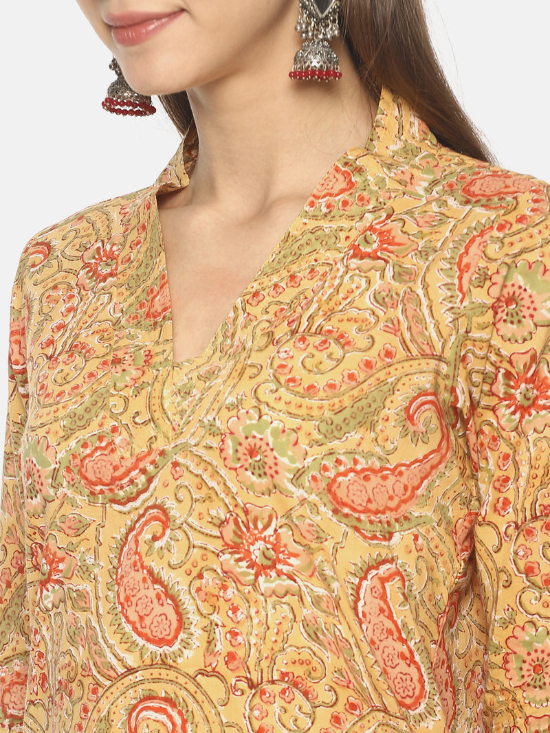 Yellow Pure Cotton Hand Block Printed V-Neck Straight Cut Kurti