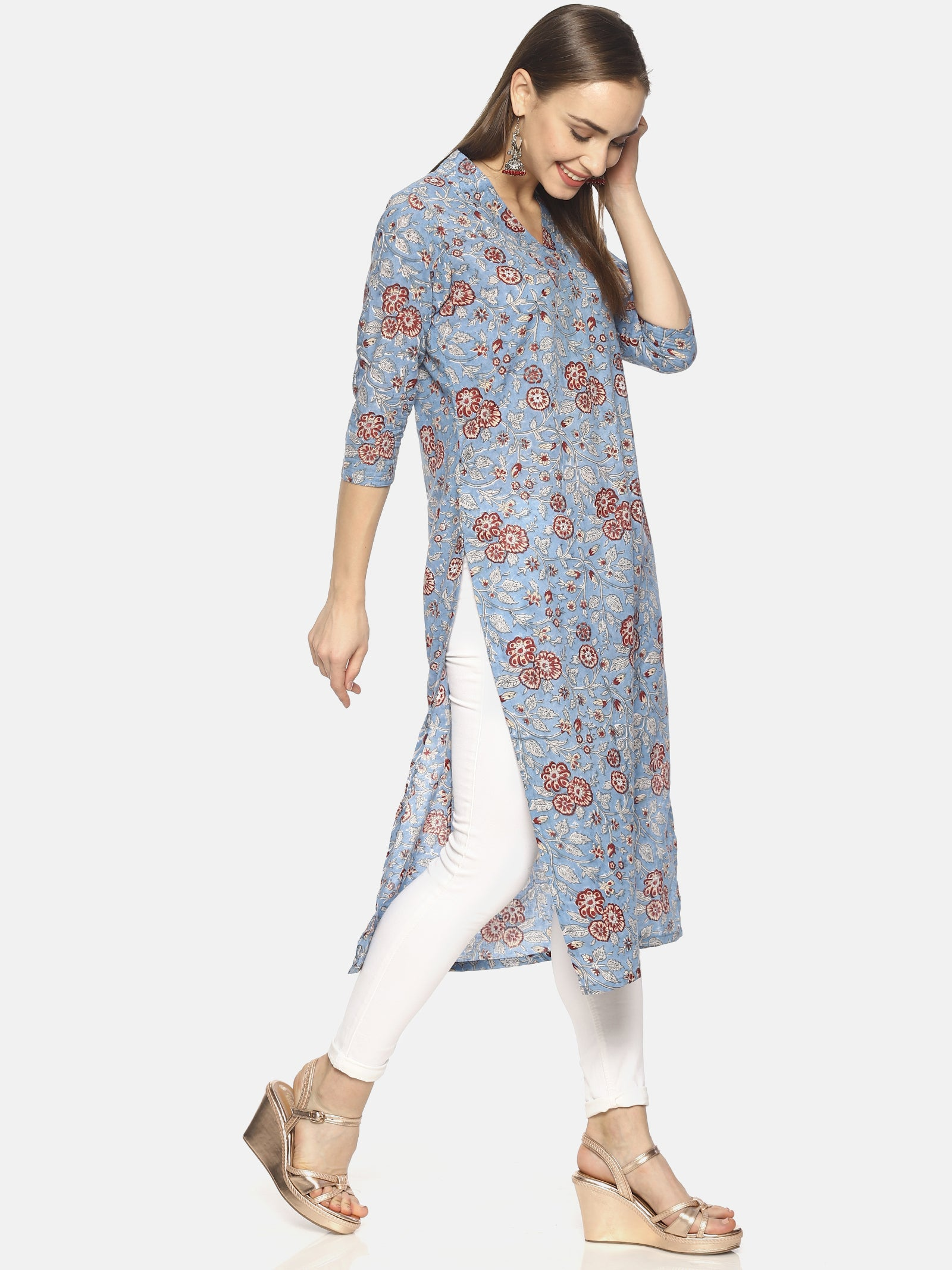 Sky Blue Pure Cotton Hand Block Printed V-Neck Straight Cut Kurti (Small)