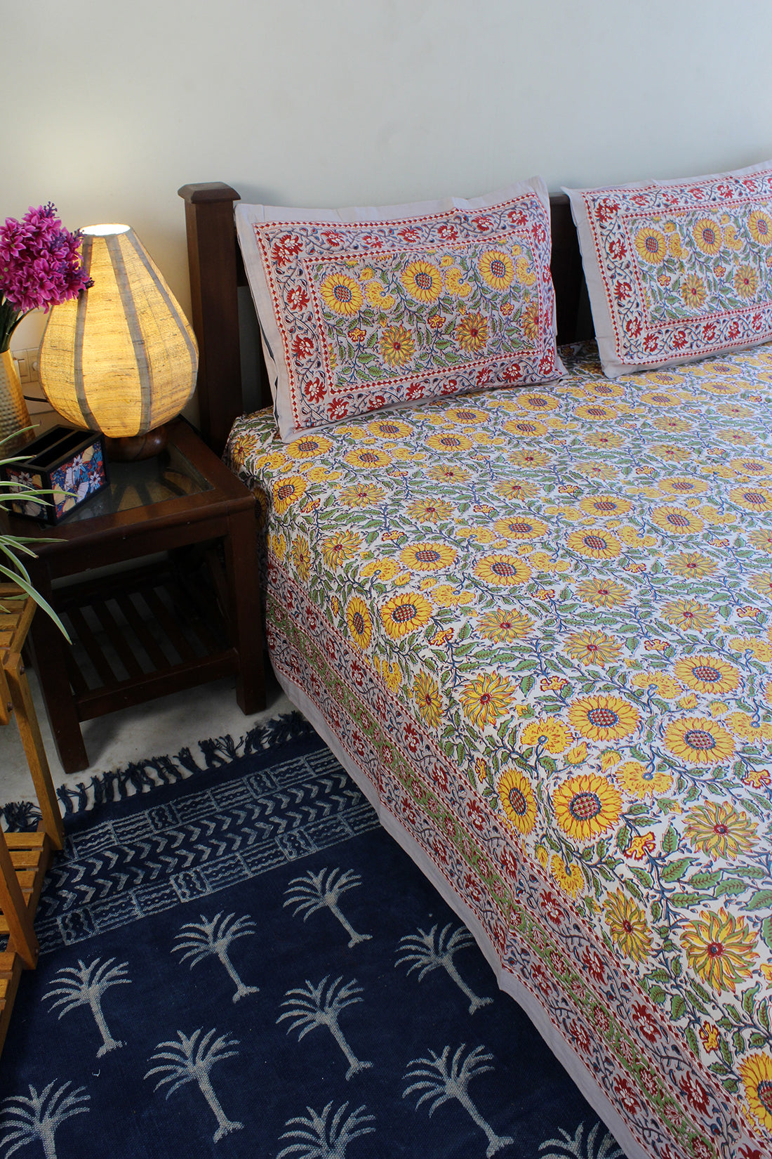 Grey Hand Block Printed Pure Cotton King Size Bedsheet with Pillow Covers