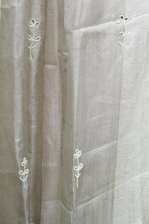 Light Silver Tissue Silk Hand Embroidered Dupatta