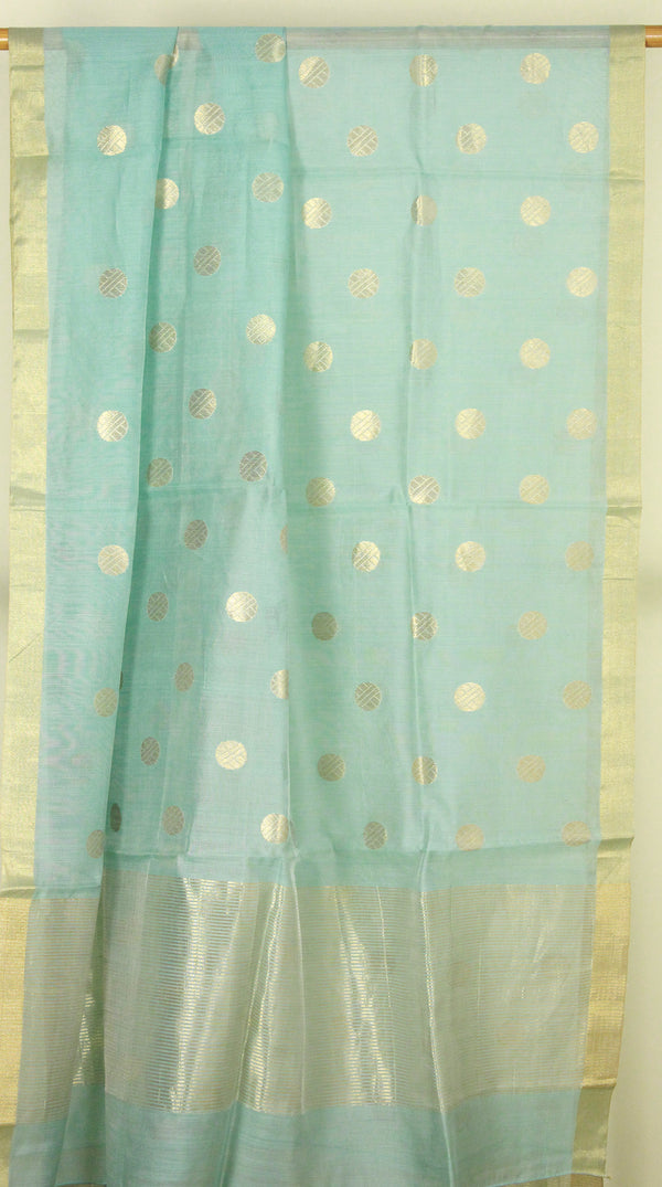 Pastel Blue Chanderi Handloom Cotton Silk Dupatta with Golden Motifs