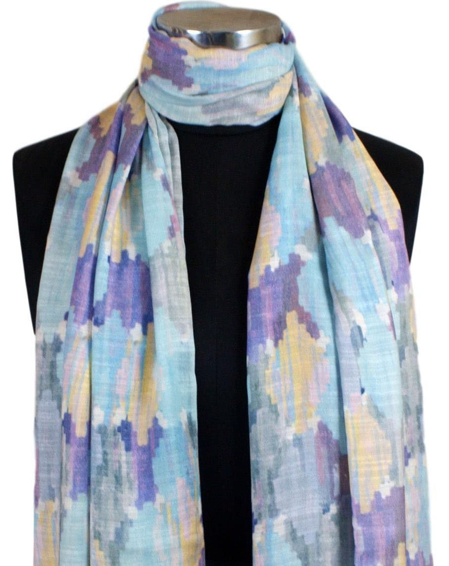Blue Purple and Yellow Linen Modal Digital Printed Stole with Modern Ikkat
