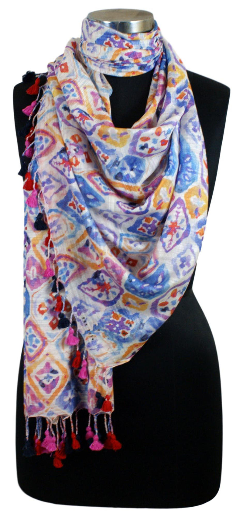 Multi-coloured Linen Modal Digital Printed Stole with Modern Ikkat