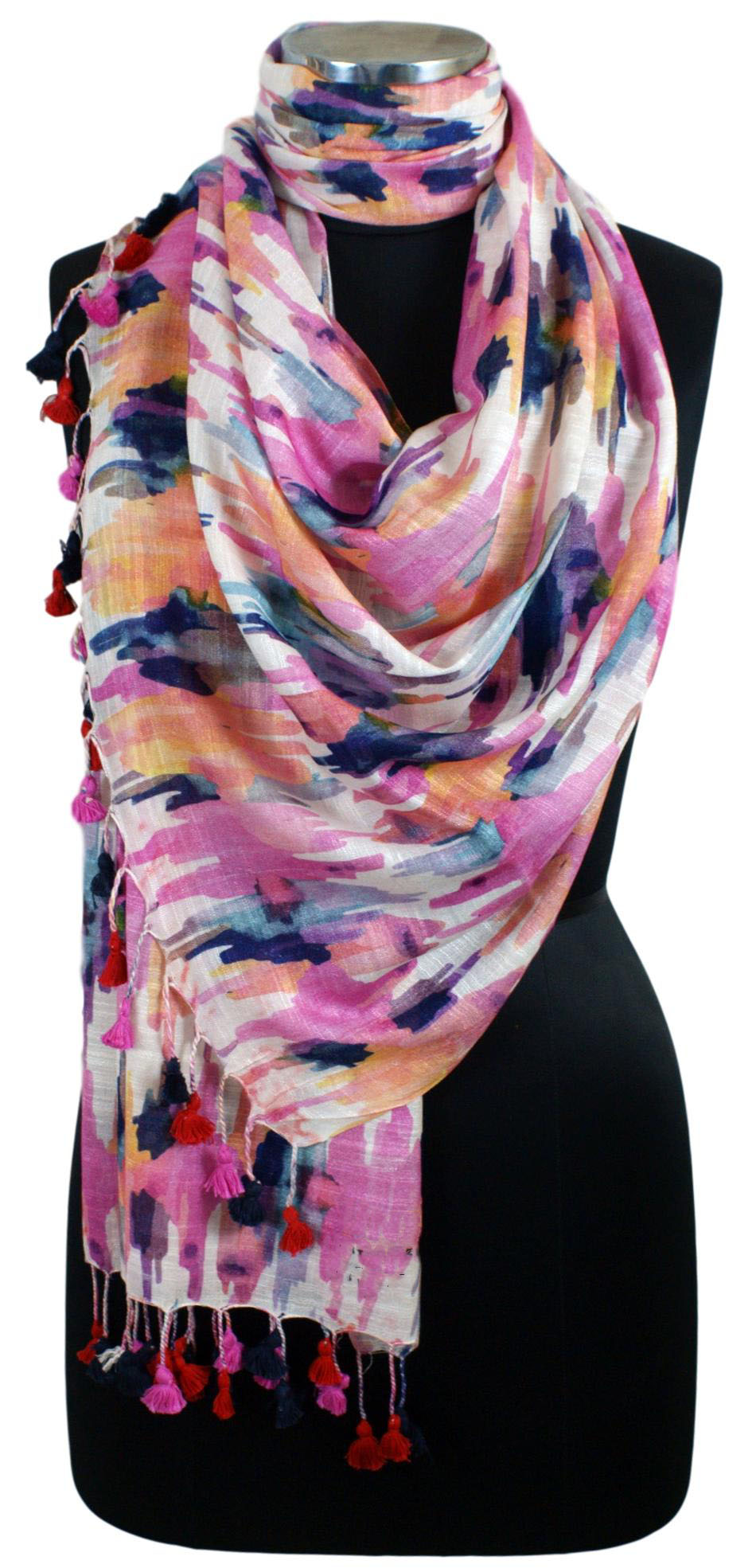 Multi-coloured. Linen Modal Stole with Digital Print Ikkat