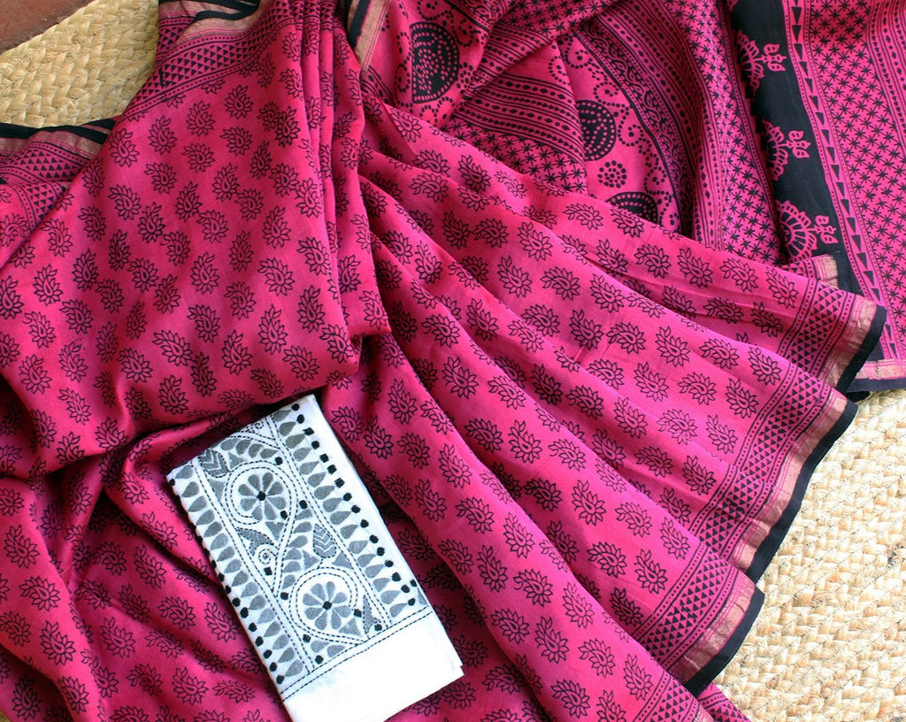Magenta Naturally Dyed Hand Block Printed Chanderi Cotton Silk Saree with White Cotton Kantha Hand Embroidered Blouse Piece