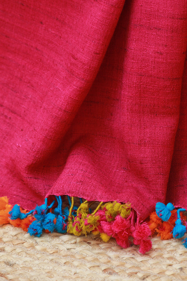 Magenta Wool and Silk Handwoven Stole