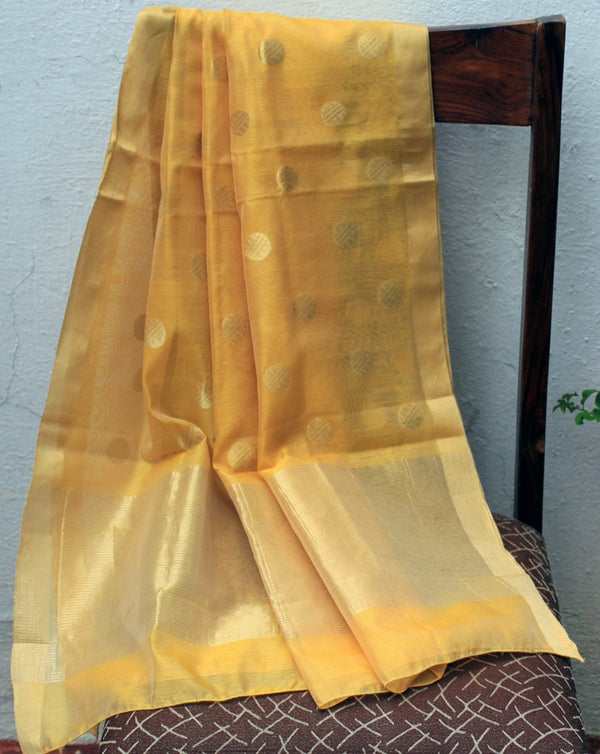 Mango Chanderi Handloom Cotton Silk Dupatta with Silver Zari Motifs