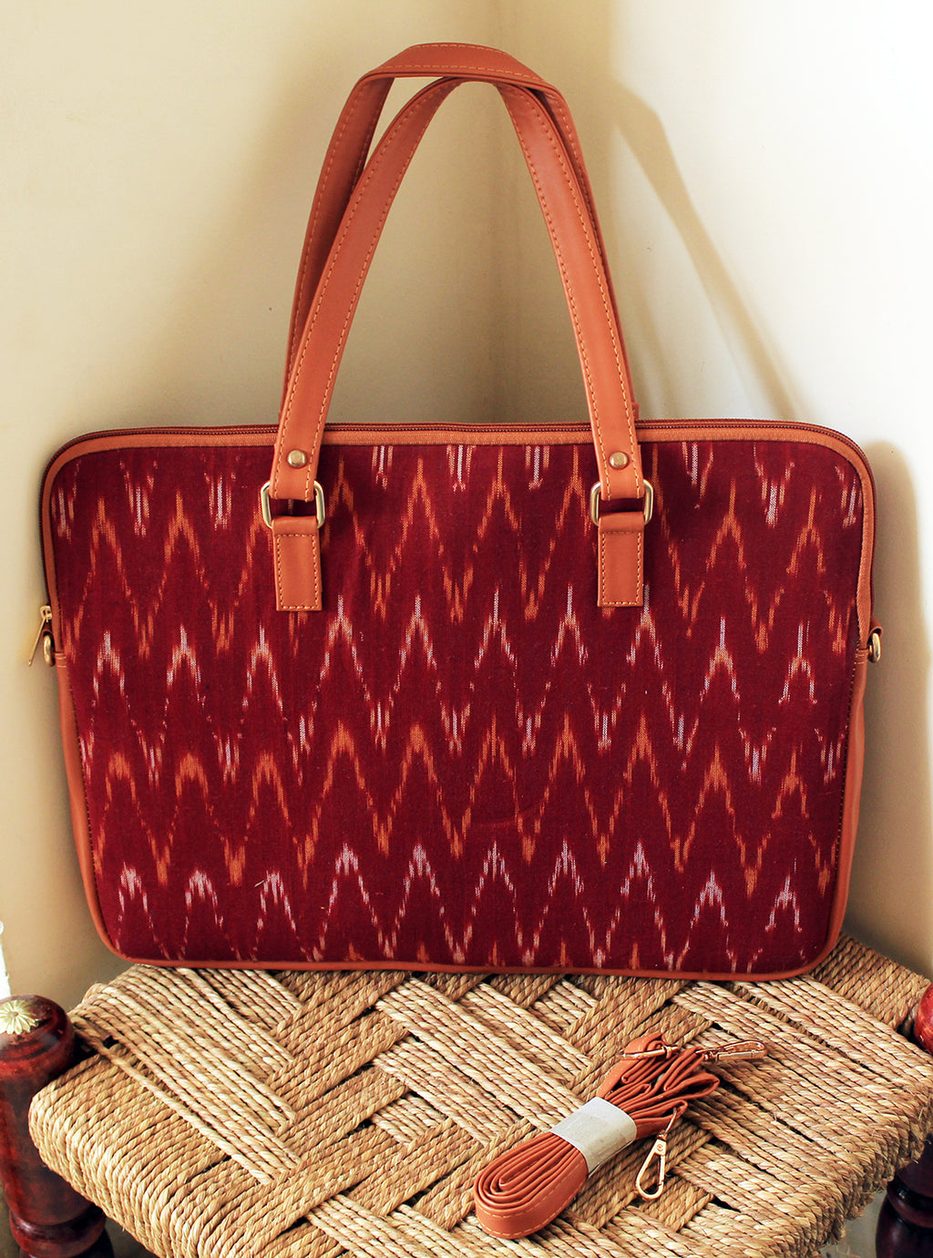 Maroon Handloom Ikkat Cotton Laptop Bag with Adjustable Belt
