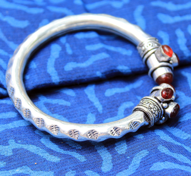 Antique Finish German Silver Adjustable Kada with Maroon Stones