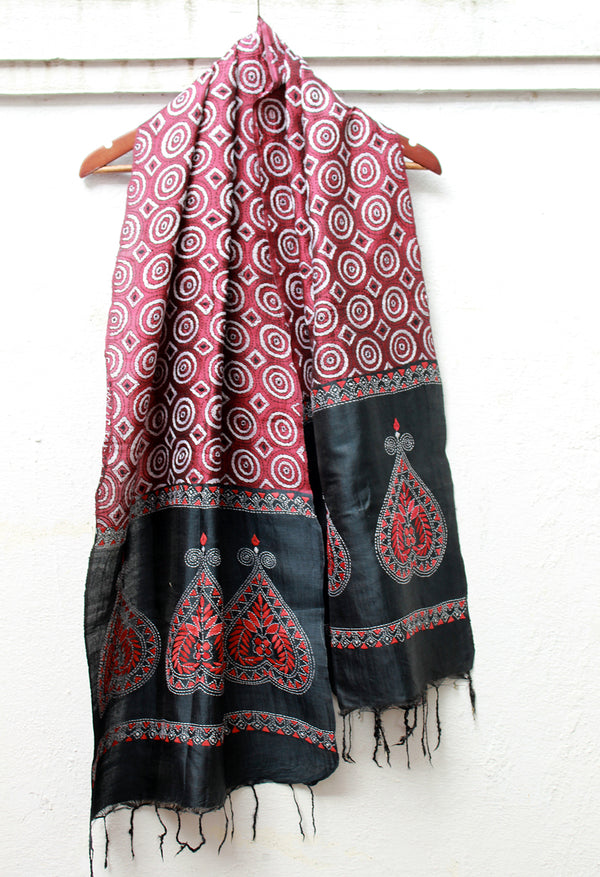 Maroon and Black Handloom Tussar Silk Stole with Kantha Work