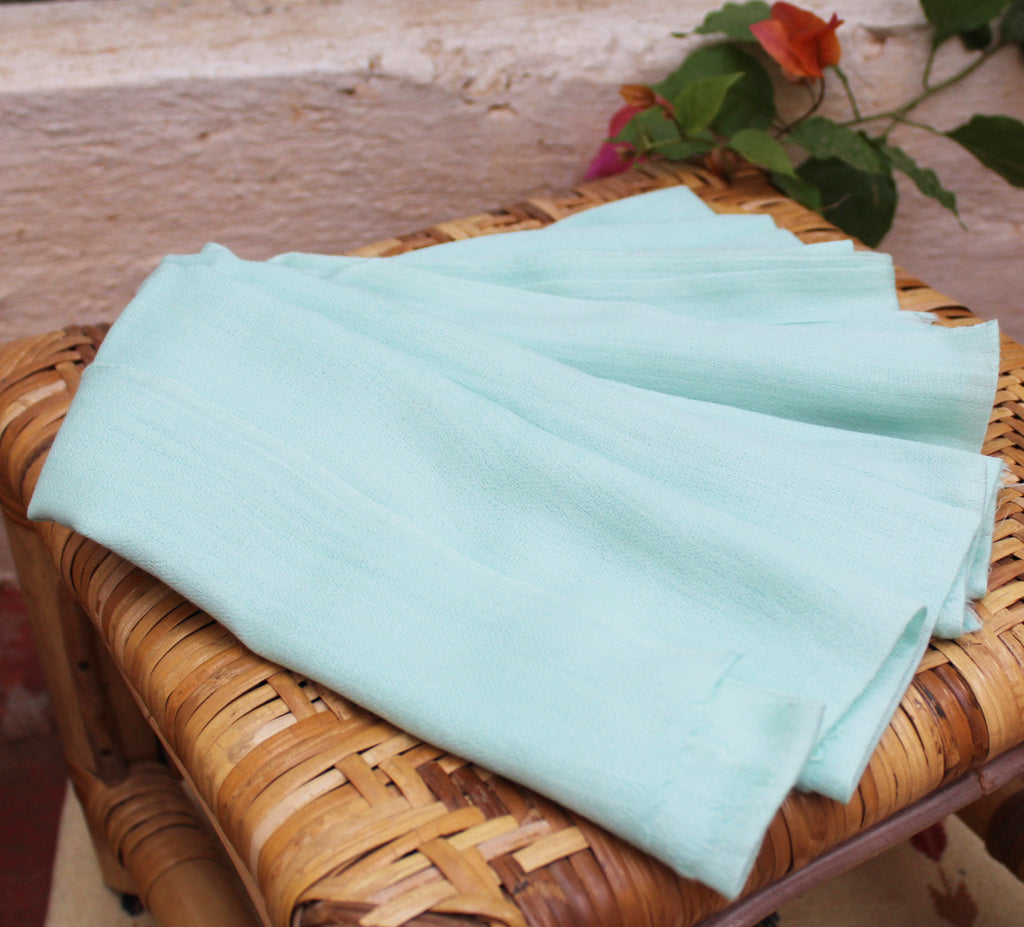 Mint Pure Kashmiri Wool and Silk Woven Stole (80 x 28 inches)