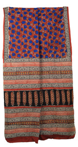 Red Hand Block Printed Mul Cotton Women's Saree with Blouse Piece
