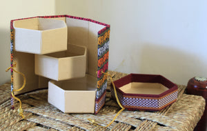 Multi-coloured Handmade Khun Fabric Jewellery Box