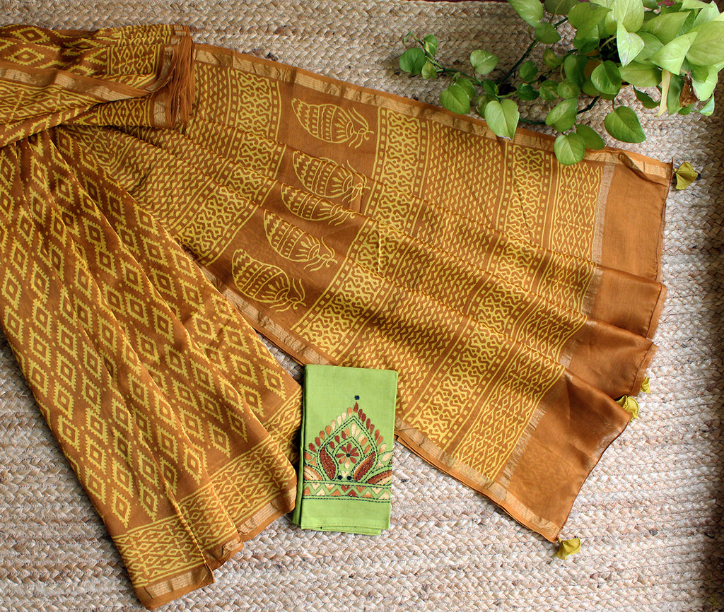 Mustard Naturally Dyed Hand Block Printed Chanderi Cotton Silk Saree with Green Hand Embroidered Cotton Blouse Piece