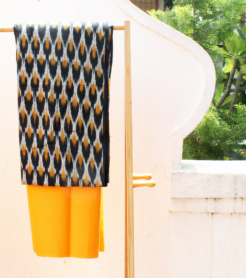 Black and Mustard Handloom Double Ikkat Pure Cotton Dress Material