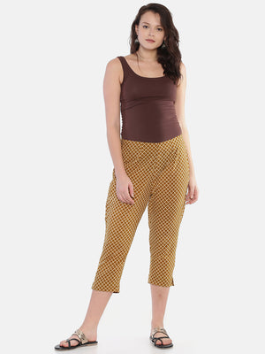 Mustard Naturally Dyed Cotton Hand Block Printed Cropped Cigarette Pants