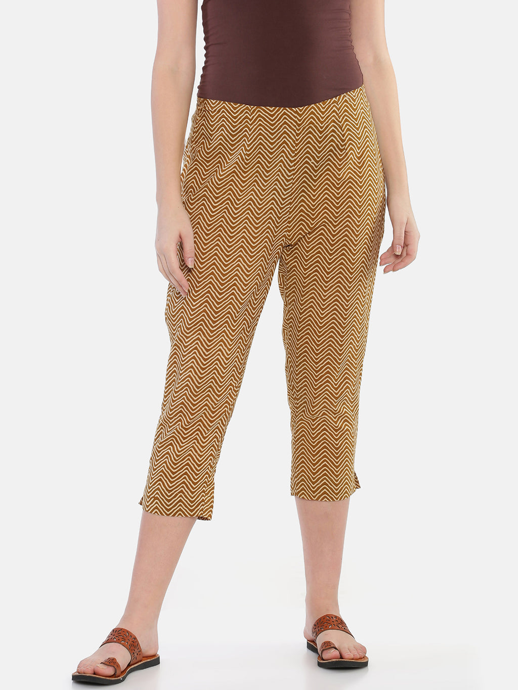Mustard Naturally Dyed Cotton Chevron Hand Block Printed Cropped Cigarette Pants