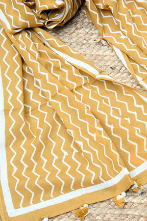 Mustard  Naturally Dyed Hand Block Printed Chevron Mul Cotton Stole