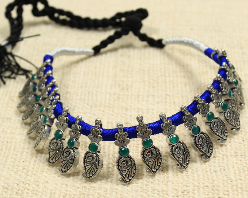 Antique Oxidised German Silver and Blue Thread Choker Necklace