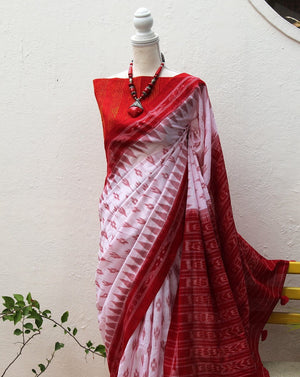 White Odisha Ikkat Cotton Handloom Saree with Kantha Embroidered Blouse Piece