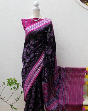 Black Odisha Ikkat Cotton Handloom Saree with Ikkat Blouse Piece